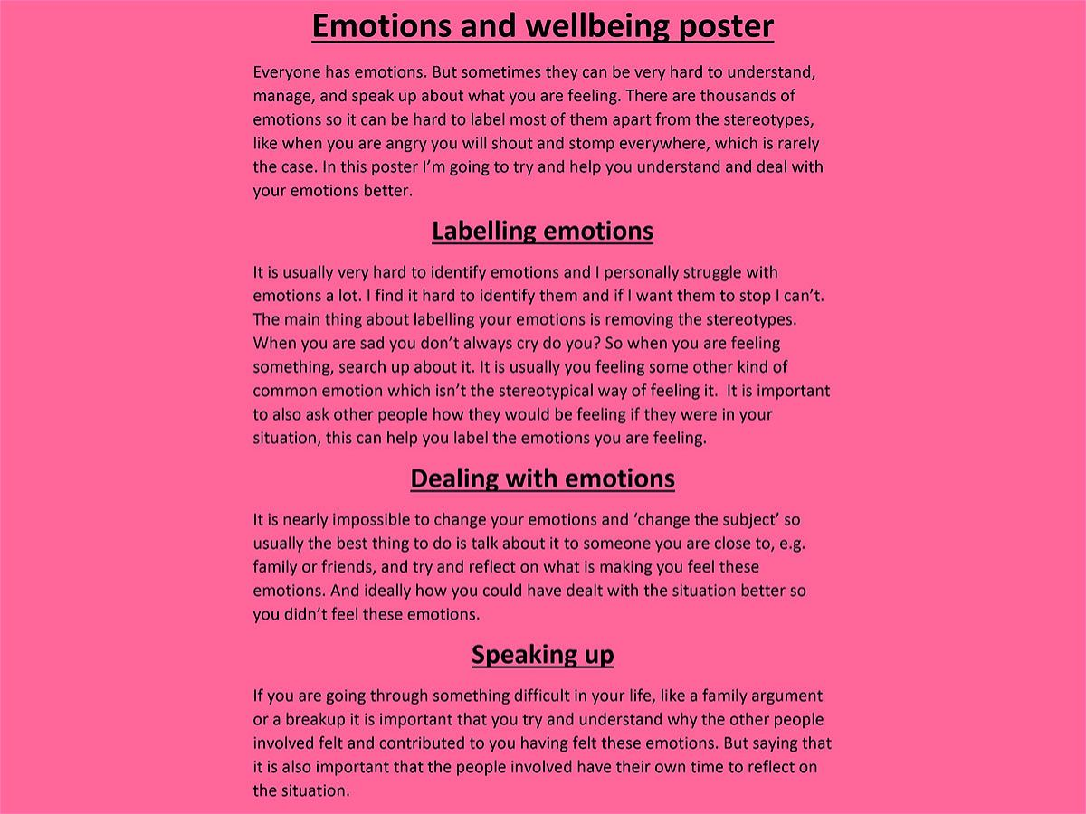 Photo 2 - Year 7 and Year 8 PSHE: Emotions, Mental Health and Self-Care