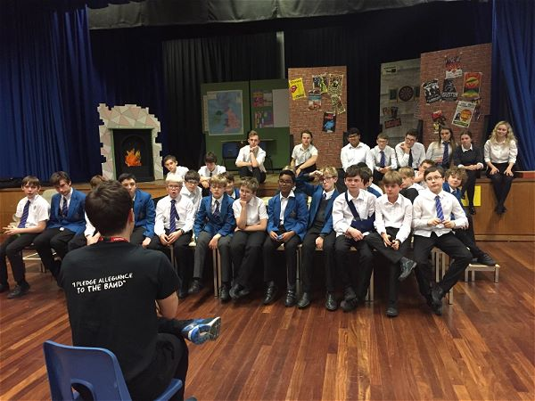 Photo 2 - The cast of our school production, School of Rock, were treated to a masterclass by actor Cameron Sharp