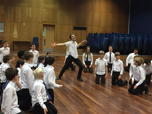 Photo 4 - The cast of our school production, School of Rock, were treated to a masterclass by actor Cameron Sharp